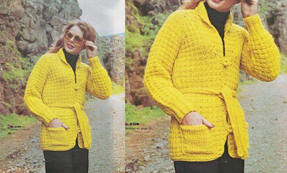 Aran Cardigan Knitting Pattern Vintage Sweater Coat Wrap Around