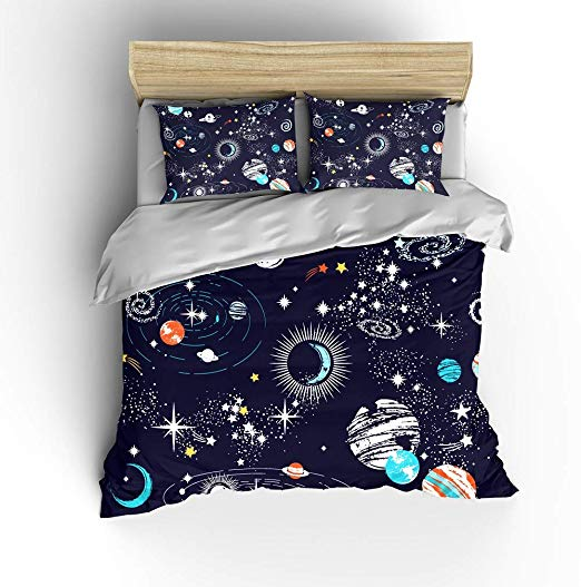 Amazon Com Shompe Galaxy Space Bedding Sets Kids Twin Size Navy Blue Universe Adventure Stars Duvet C Space Comforter Outer Space Bedding Space Themed Bedroom