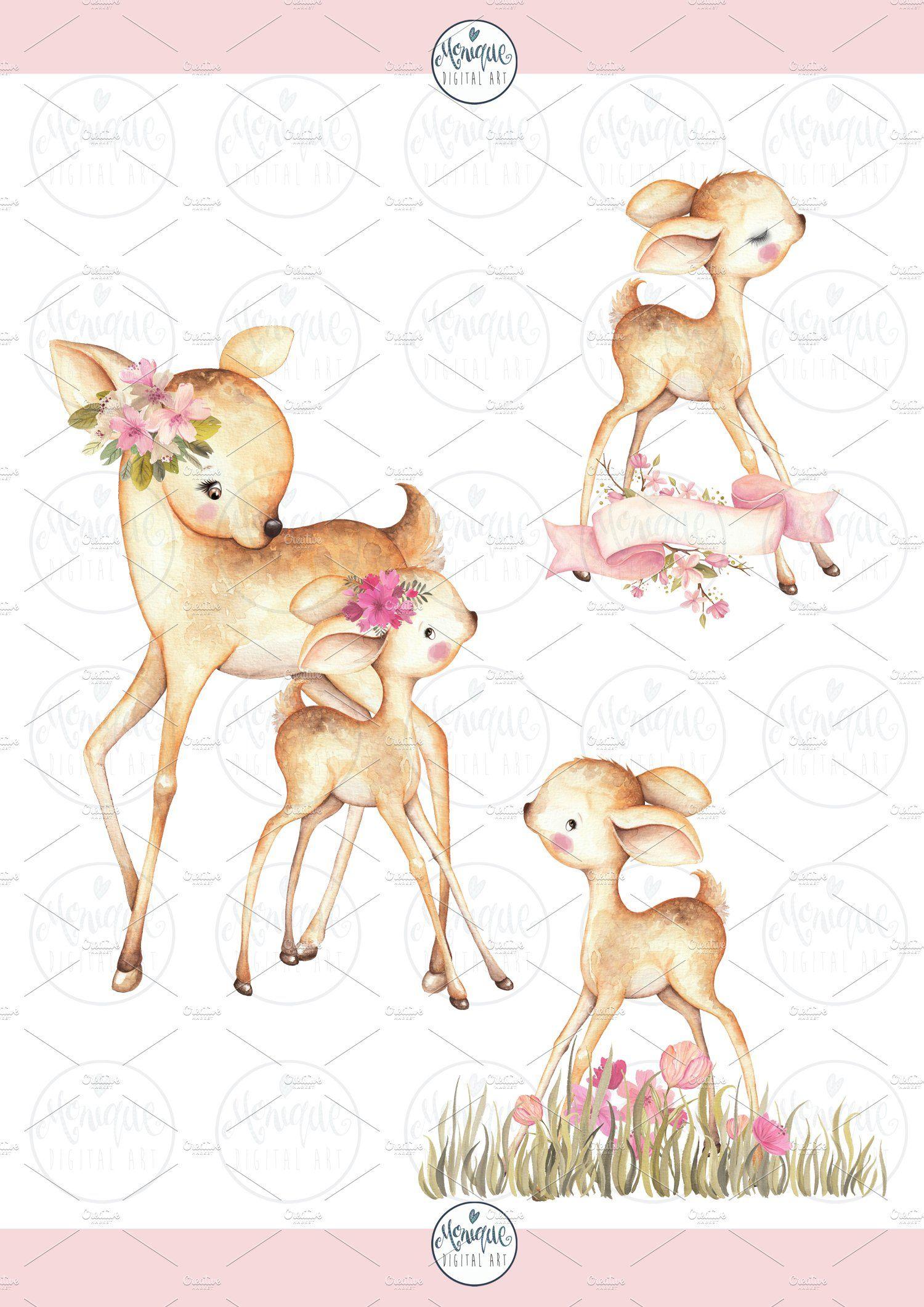Deer Clipart Watercolor Png Baby Deer Clip Art Deer Drawing