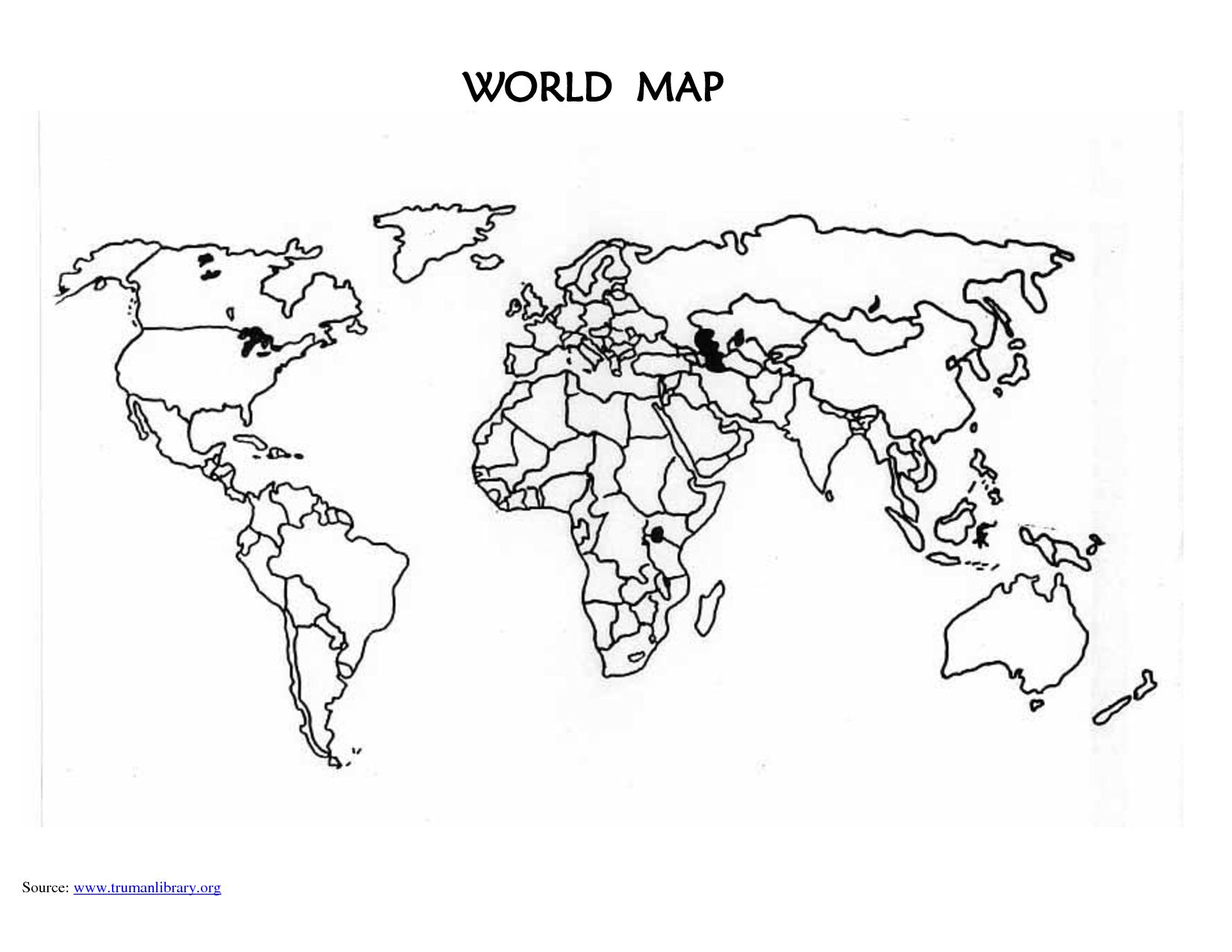 Printable Blank World Map Countries Design ideas