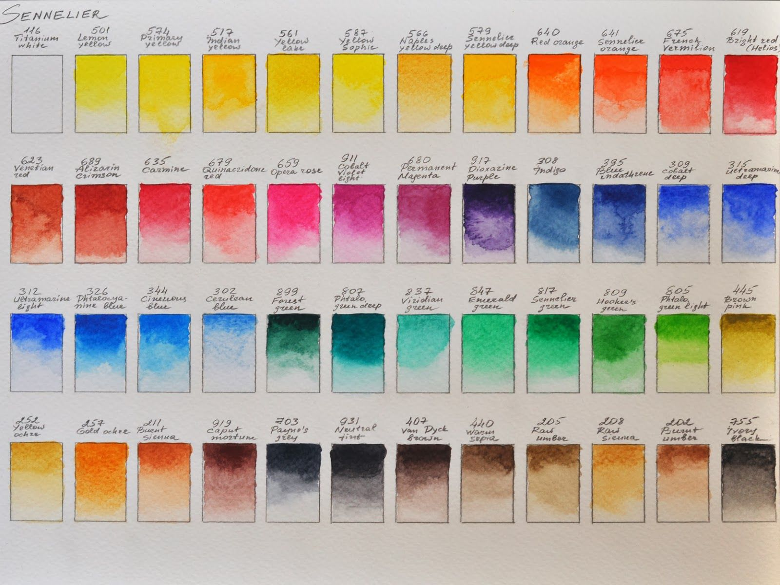 Sennelier Watercolors In A Good Order Aquarel Kleurkaarten Kleuren