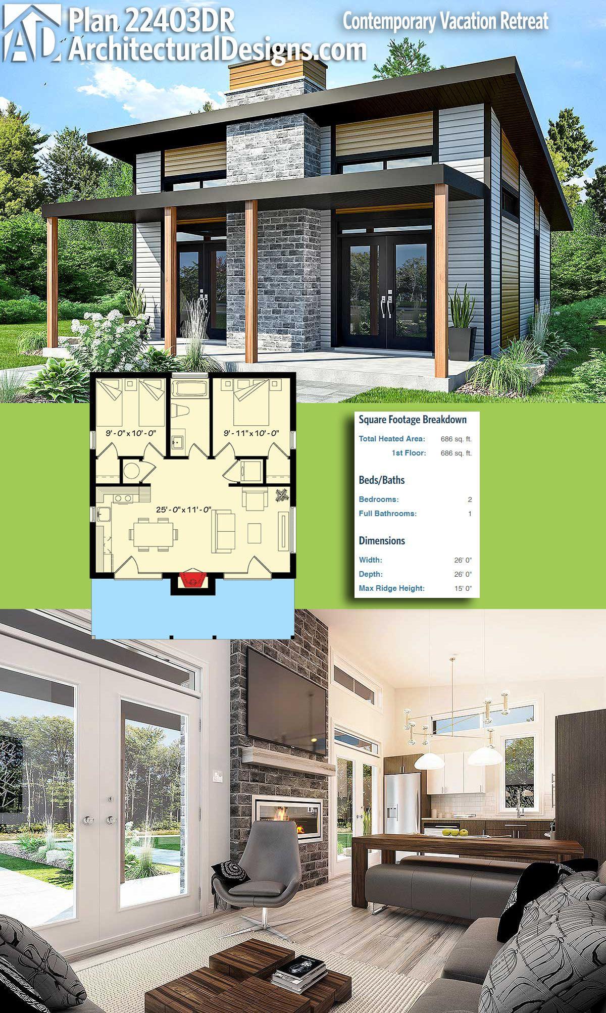Plan 22403dr Contemporary Vacation Retreat Tiny House