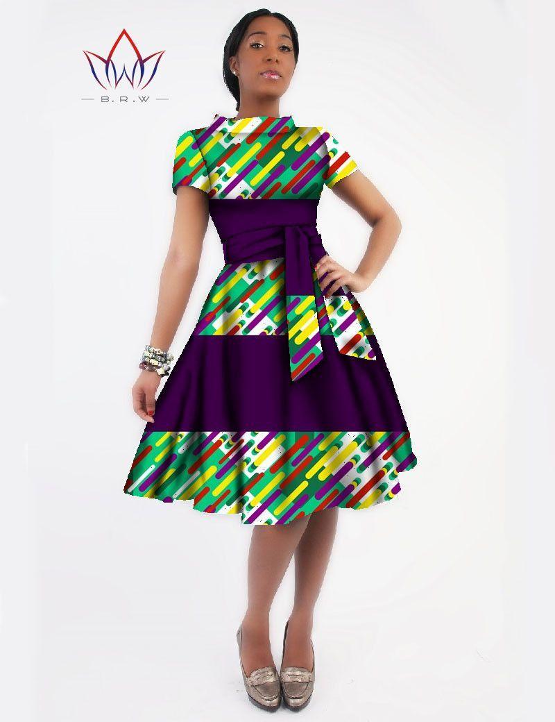 New Women Dress Sashes Jurken Brand Clothing African Print