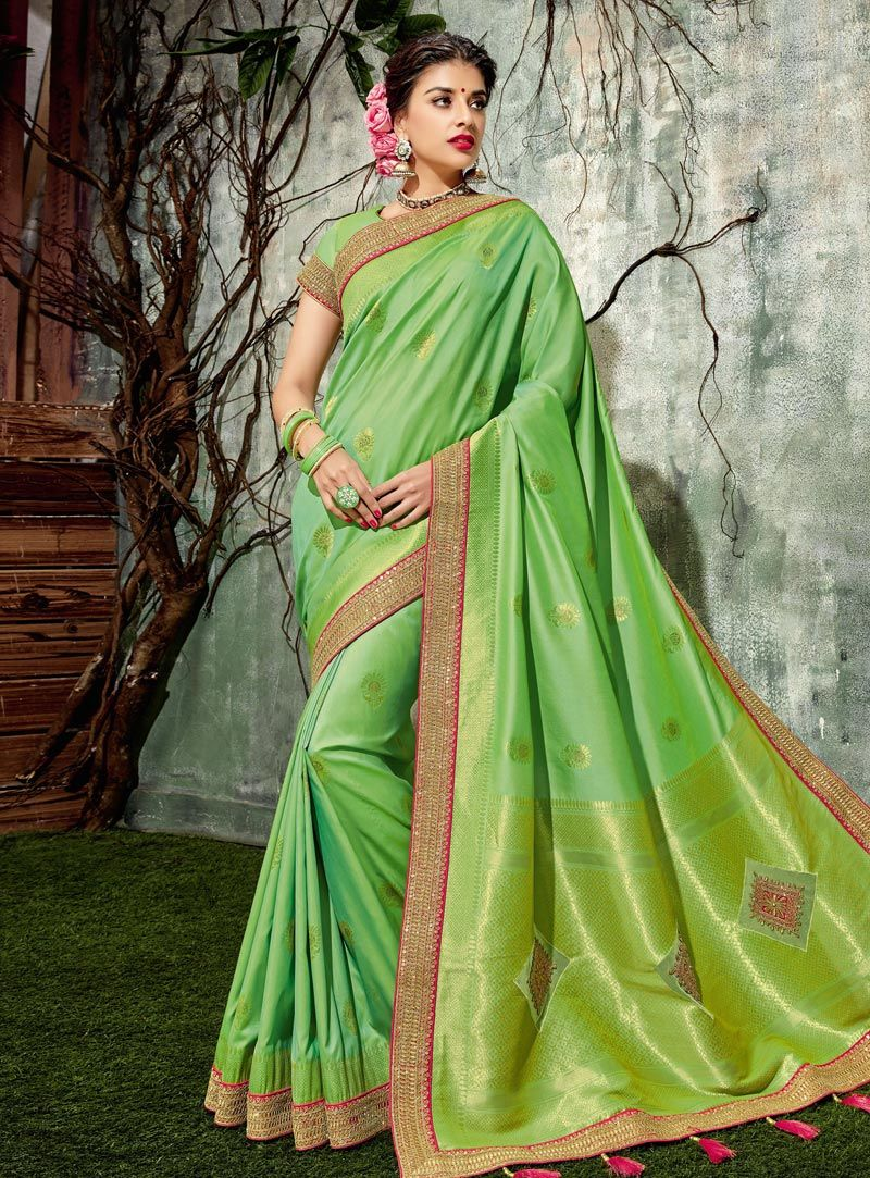 3b2c20273e736f Buy Green Silk Saree With Blouse 146753 with blouse online at lowest price  from vast collection of sarees at Indianclothstore.com.