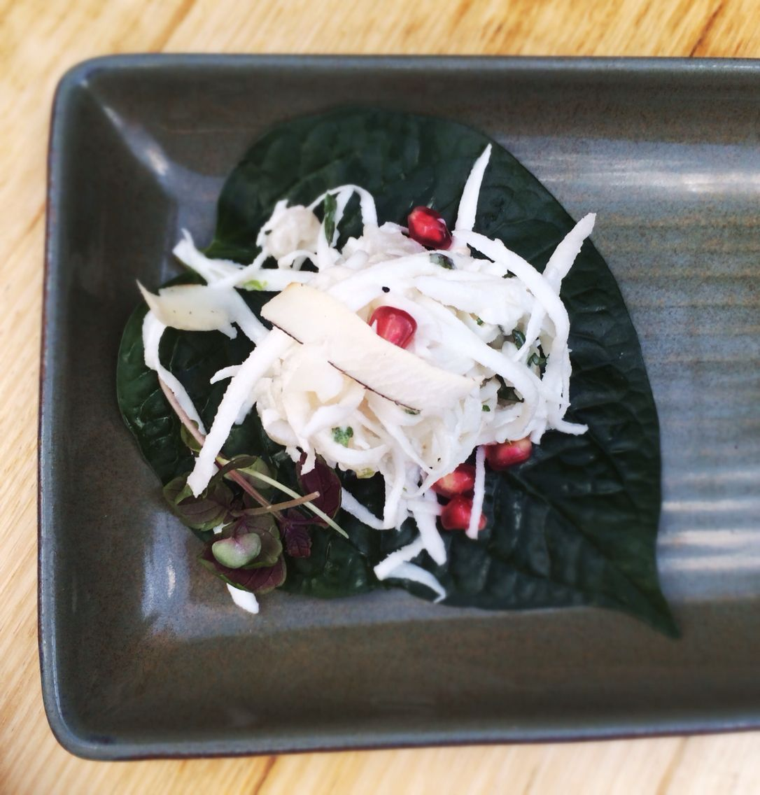 Eating out- coconut & hapuka betel leaf with pomegranates