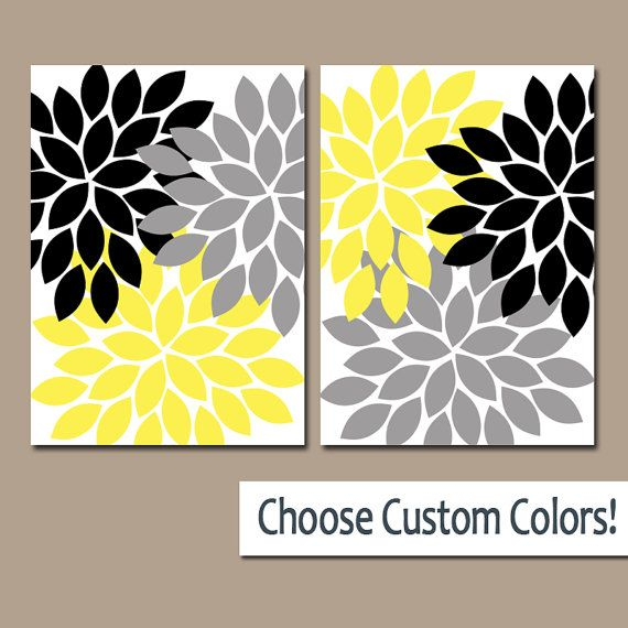 Flower Wall Art, Gray Yellow Black Bedroom Canvas or Prints, Yellow ...