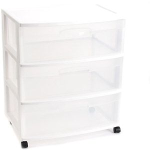 Sterilite 3 Drawer Wide Cart With Images Storage Bins Plastic