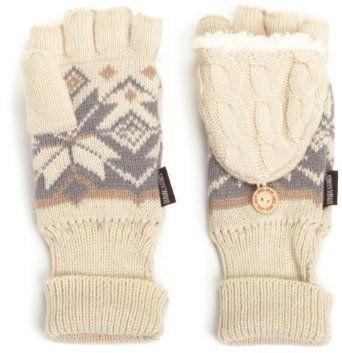 Amazon.com: Muk Luks Women's Snowflake Trim Cable Flip Mitten: Clothing