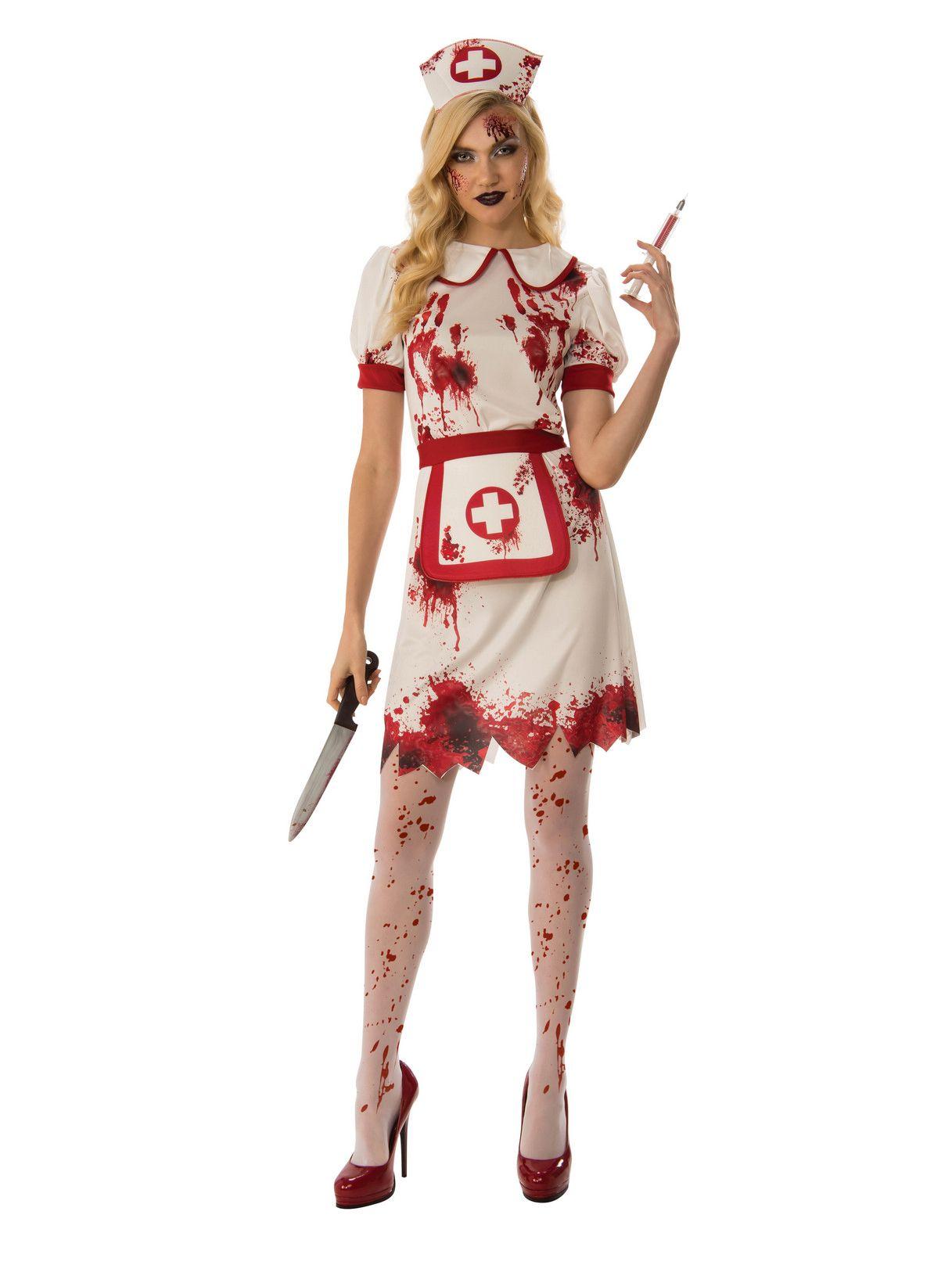 Womens Bloody Nurse Uniform Horror Hospital Scrubs Halloween Fancy Dress Costume