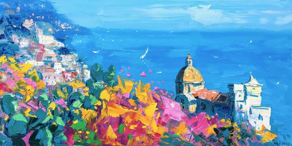Positano Wall Art Prints Original Art Amalfi Coast Canvas Art Italy Wall Print Seascape Art Bed Seascape Wall Art Painting Italy Art