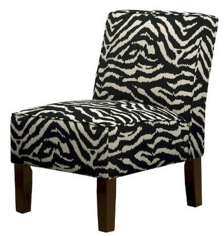 Burke Black/White Zebra Armless Slipper Chair
