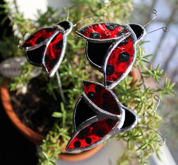 Three Stained Glass Ladybug Garden Stakes / Garden Art / Garden Decor