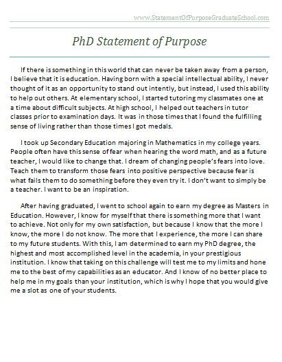 Graduate School Statement of Purpose Sample   www - Sample Of Statement Of Purpose