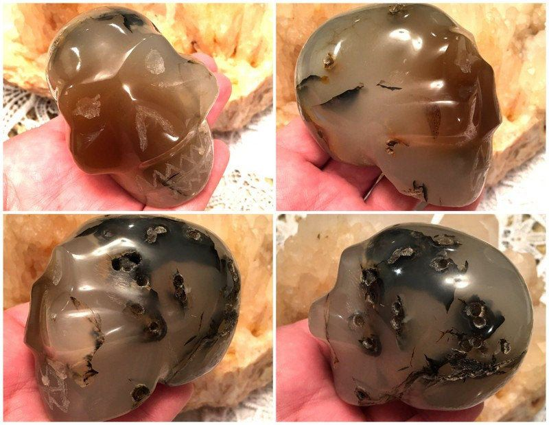 Vintage Dendritic Carnelian Agate Crystal Skull - Personal Power #pictureplacemeant
