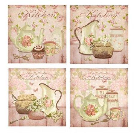 Cuadros vintage para la cocina buscar con google tea - Imagenes de cocinas para imprimir ...