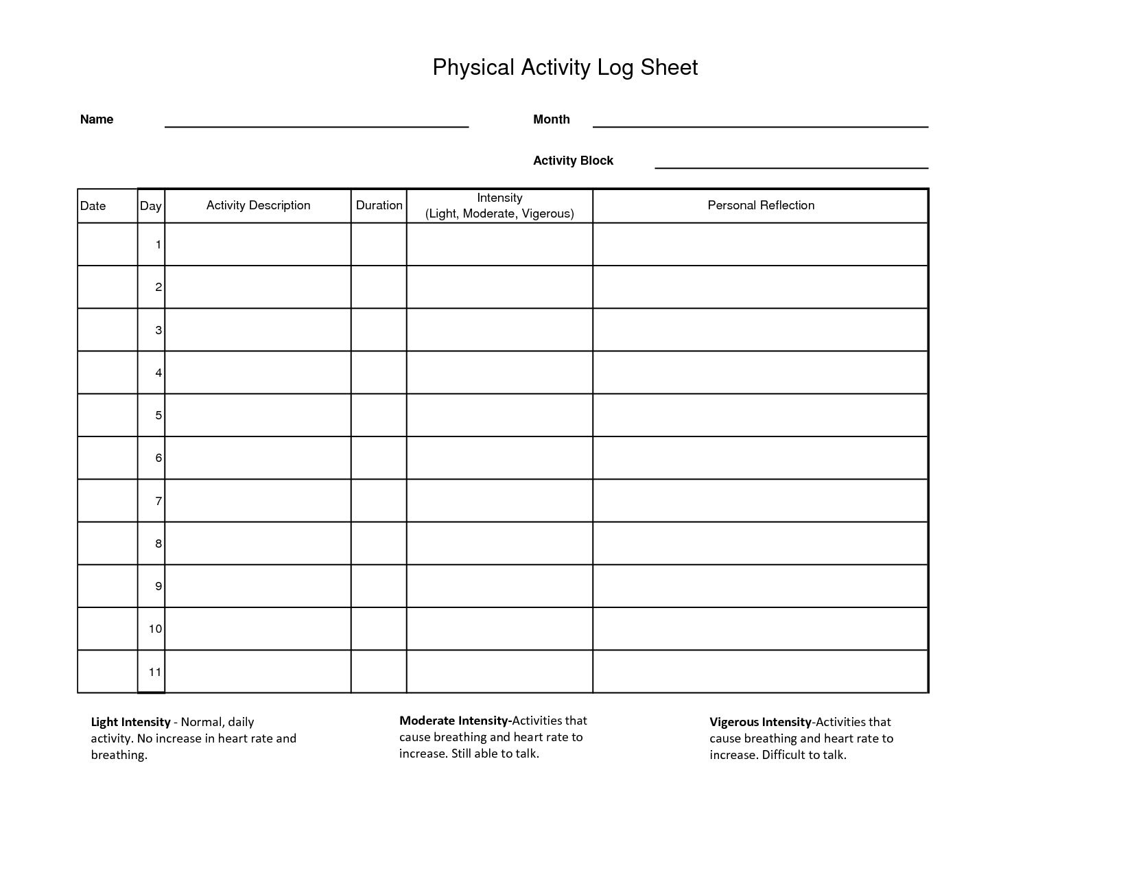 Workout log sheet physical activity log sheet for Activity programme template