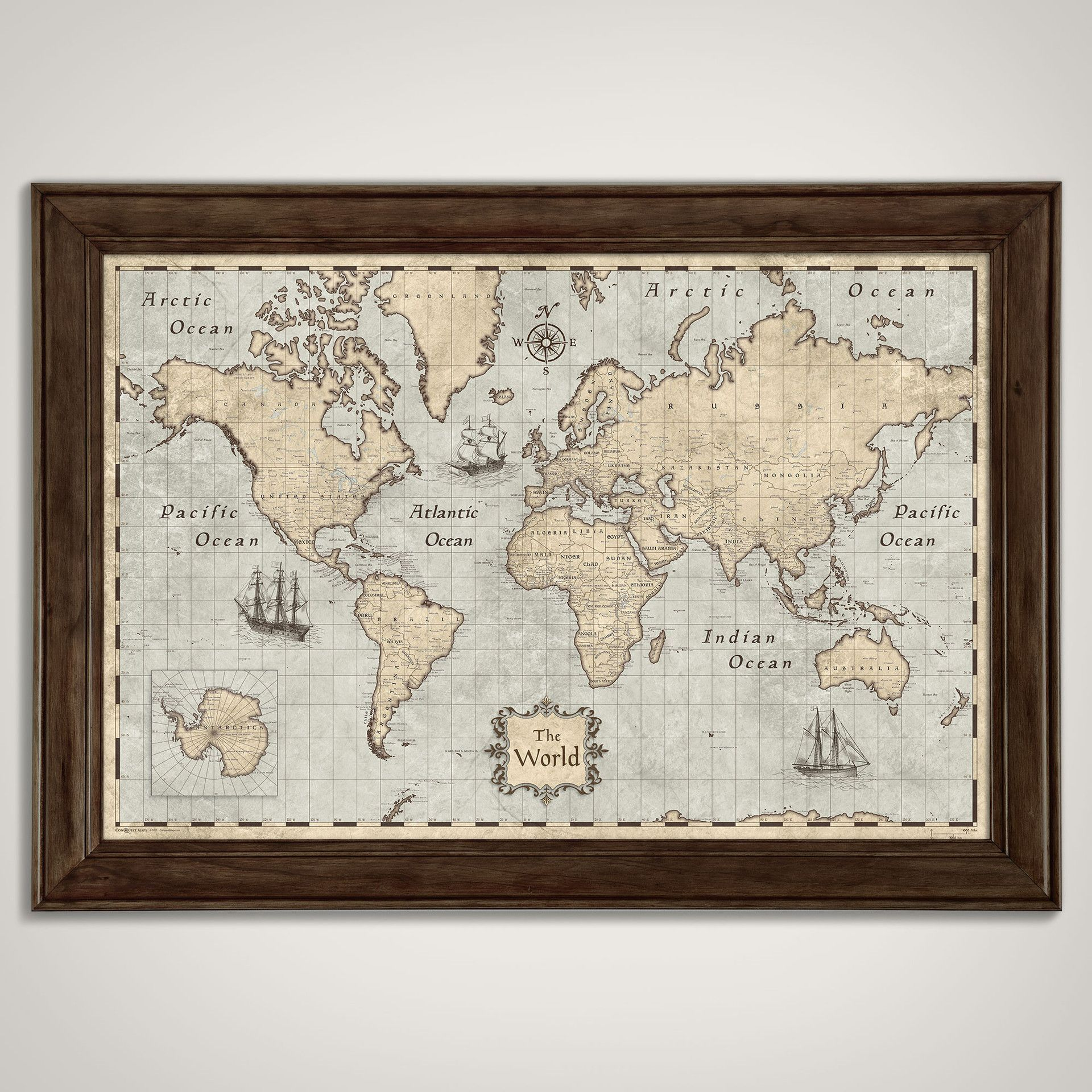 Personalized World Map Poster (Multiple Sizes)  Rustic Vintage Style