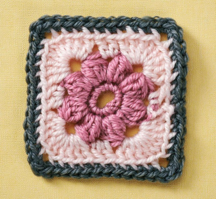 Rose granny square | Carpetas | Pinterest | Häkeln