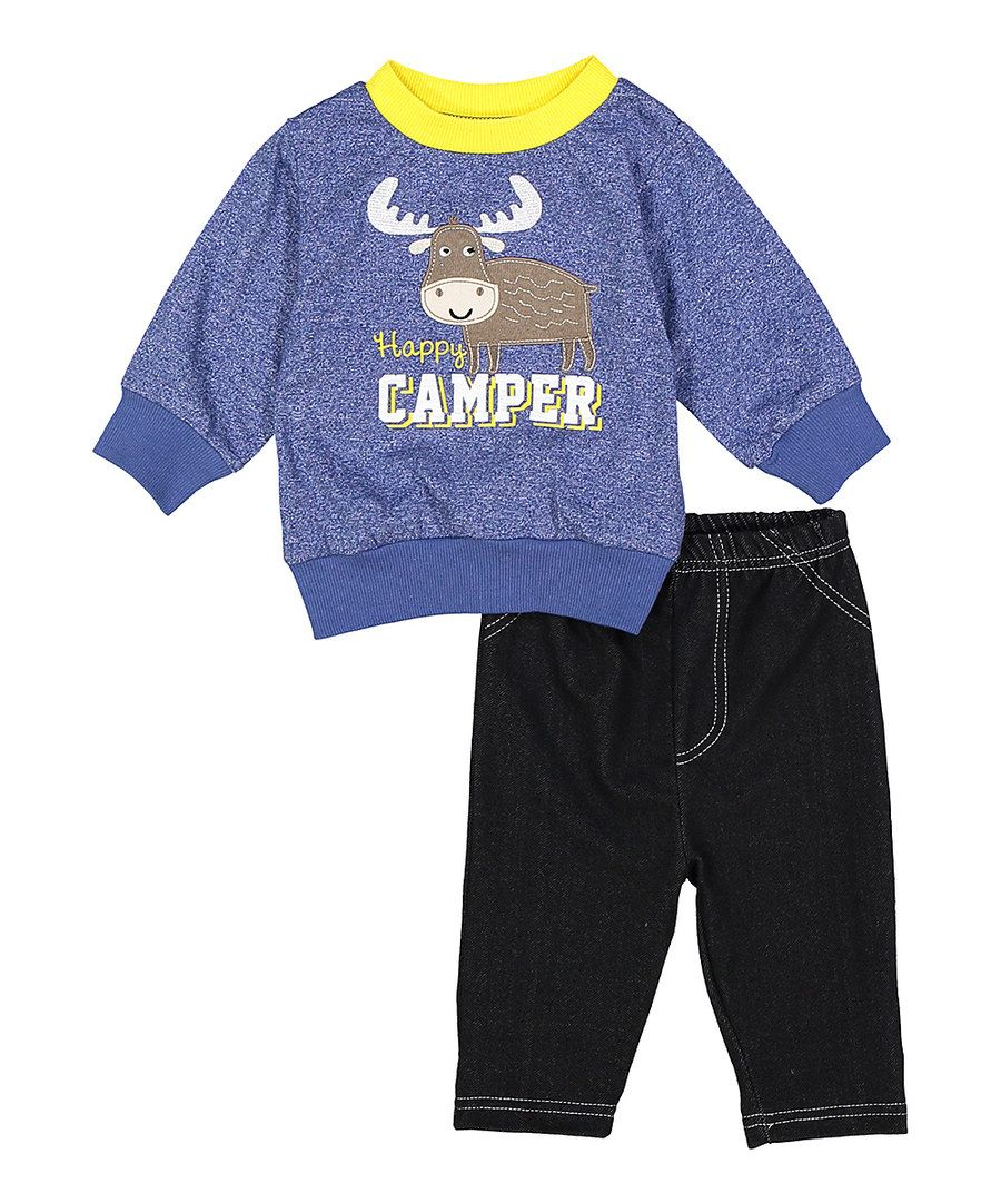Look at this bon bébé Blue Moose 'Happy Camper' Sweatshirt & Pants - Infant on #zulily today!