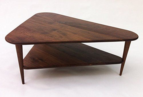 Mid Century Modern Coffee Table W Shelf Triangle Cocktail Table