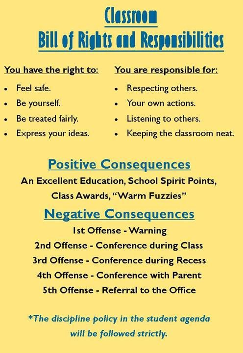 Classroom Bill of Rights and Responsibilities School Pinterest - jimmy sweeney resumes