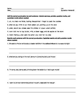 Direct Quotes Ela Quotation Marks Punctuating Direct & Indirect Quotes Worksheet