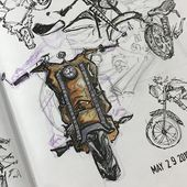 Today I decided to do a sketchbook page focusing on some motorcycle drawings Ve  Sketchbooks  Art Journals