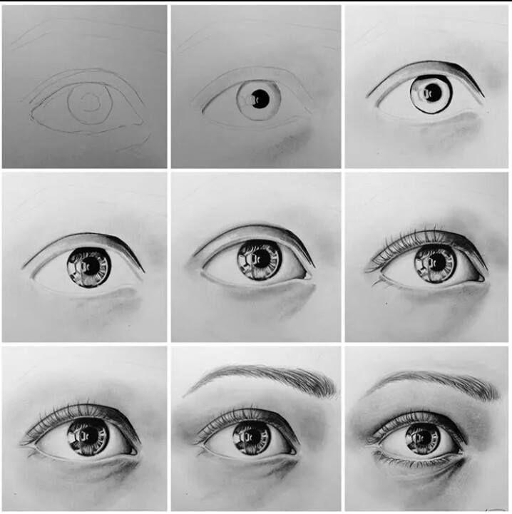Step by step eye pencil w graphite powder