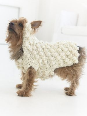 """It's the Year Of The Sheep! Knit this cute sweater for your dog for Halloween, #NationalDogDay, or just for fun! Pattern calls for 1 - 3 balls of Homespun in """"Deco"""" and size 10 knitting needles."""
