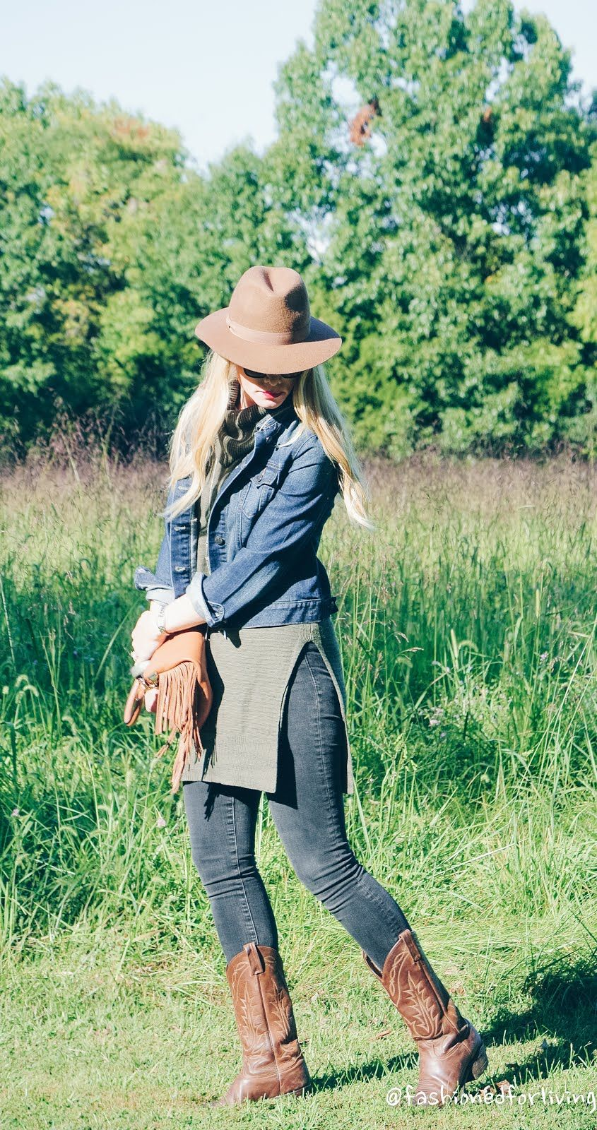 Olive Sleeveless Tunic With Denim Jacket Black Skinny Jeans And Cowboy Boots Fall Outfit Winter Outfits Denim Jacket Winter Casual Winter Outfits [ 1600 x 845 Pixel ]