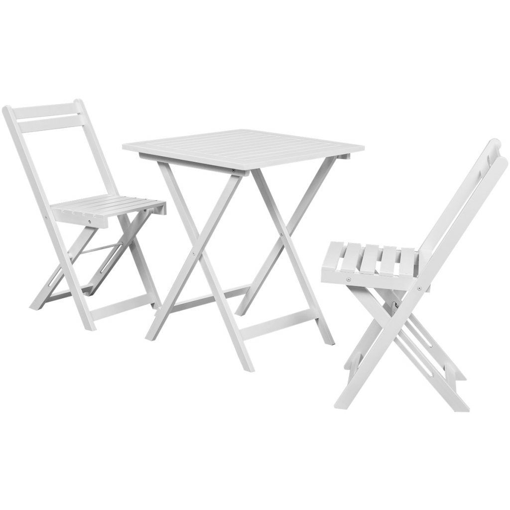 Festnight 3 Piece Outdoor Patio Bistro Set Home Balcony Set With 2 Folding Chairs White Acacia Wood Click O Bistro Furniture Bistro Table Outdoor Wood Patio