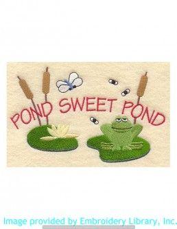 Stickmotiv Stickbild Aufnäher Stickerei Emblem Frosch  Frosch /  Stickerei Pond Sweet Pond (A1069)