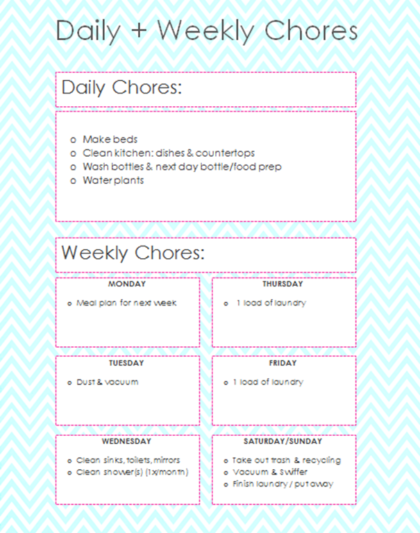 house chore schedule template - daily and weekly chores for working moms for the home