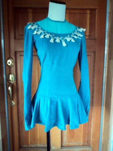 "Vintage 60s Figure Skating Ice Skate Costume Blue Velvet Jewel Neckline 36"" B. $45.00, via Etsy."