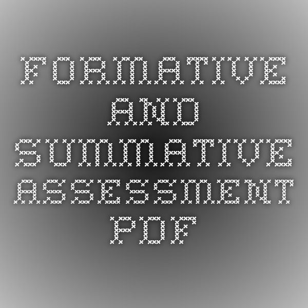 Formative And Summative Assessment Pdf  Teaching Assessments