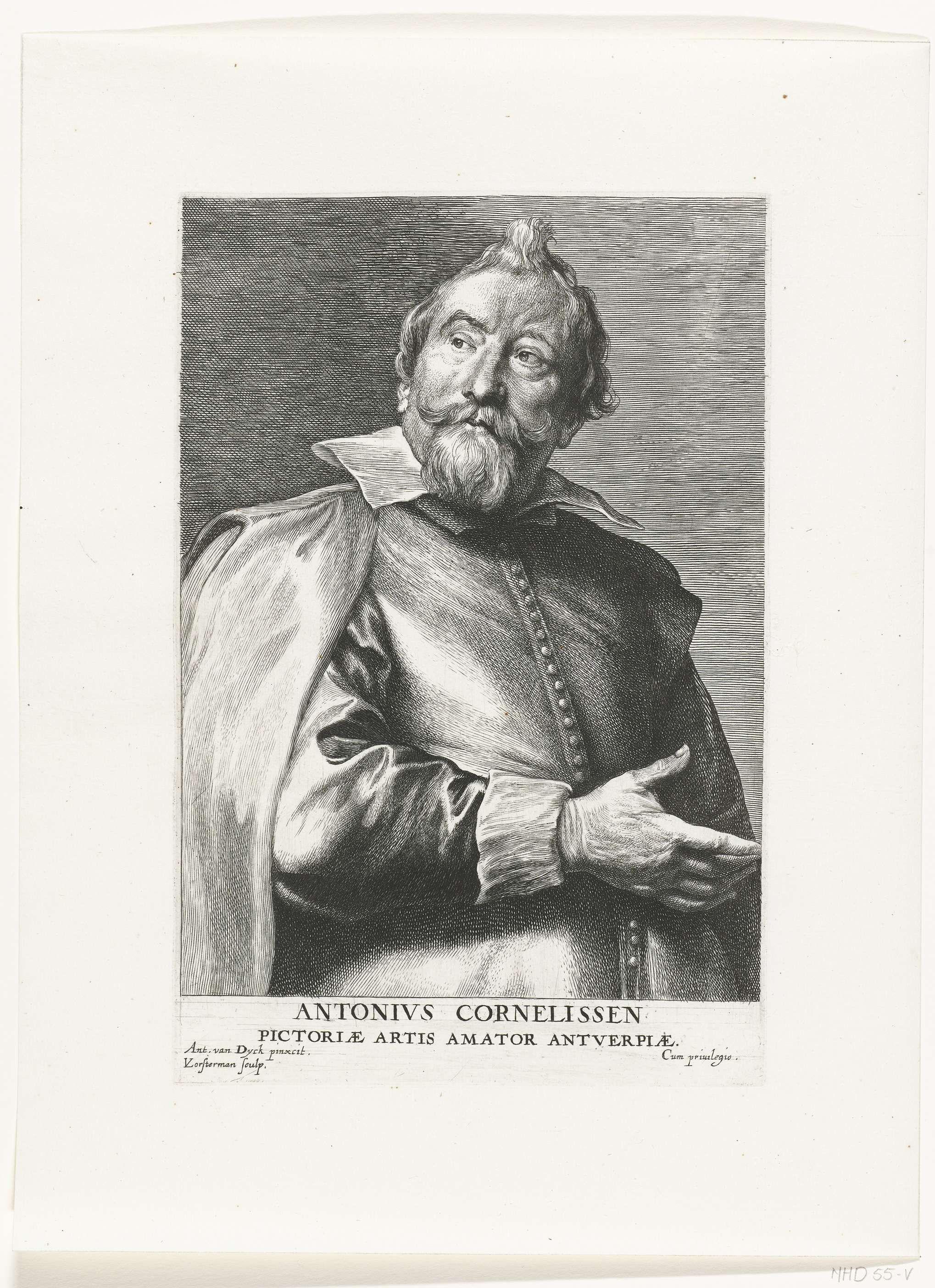 Lucas Vorsterman (I) | Portret van de verzamelaar Antonius Cornelissen, Lucas Vorsterman (I), 1630 - before 1646 | Portret van de verzamelaar Antoon Cornelissen met onderschrift ANTONIVS CORNELISSEN PICTORIAE ARTIS AMATOR ANTVERPIAE