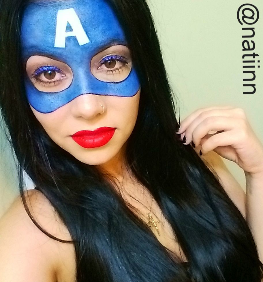 captain america halloween makeup done by me