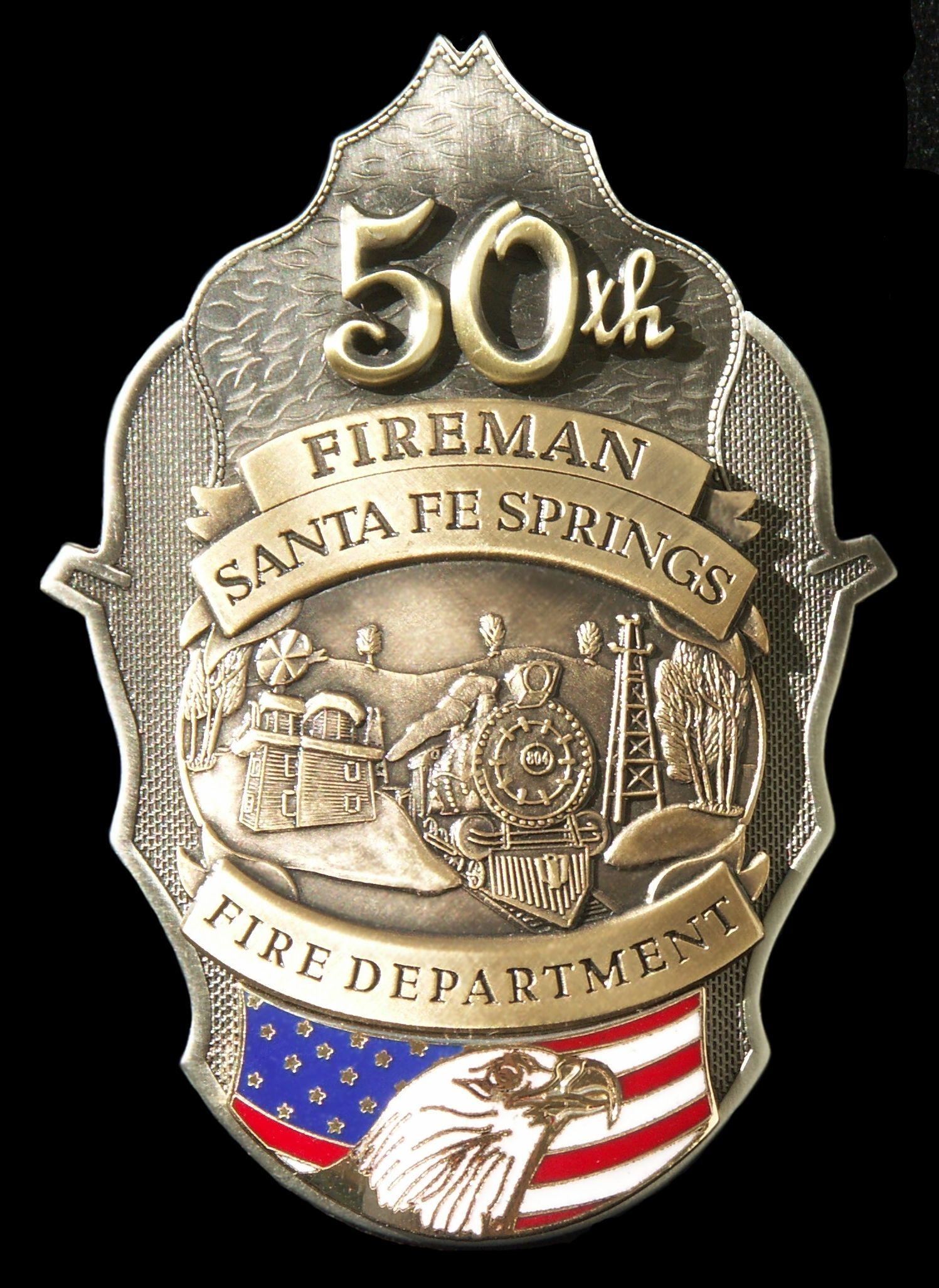 Santa Fe Springs CA Fire Department Badge Fire