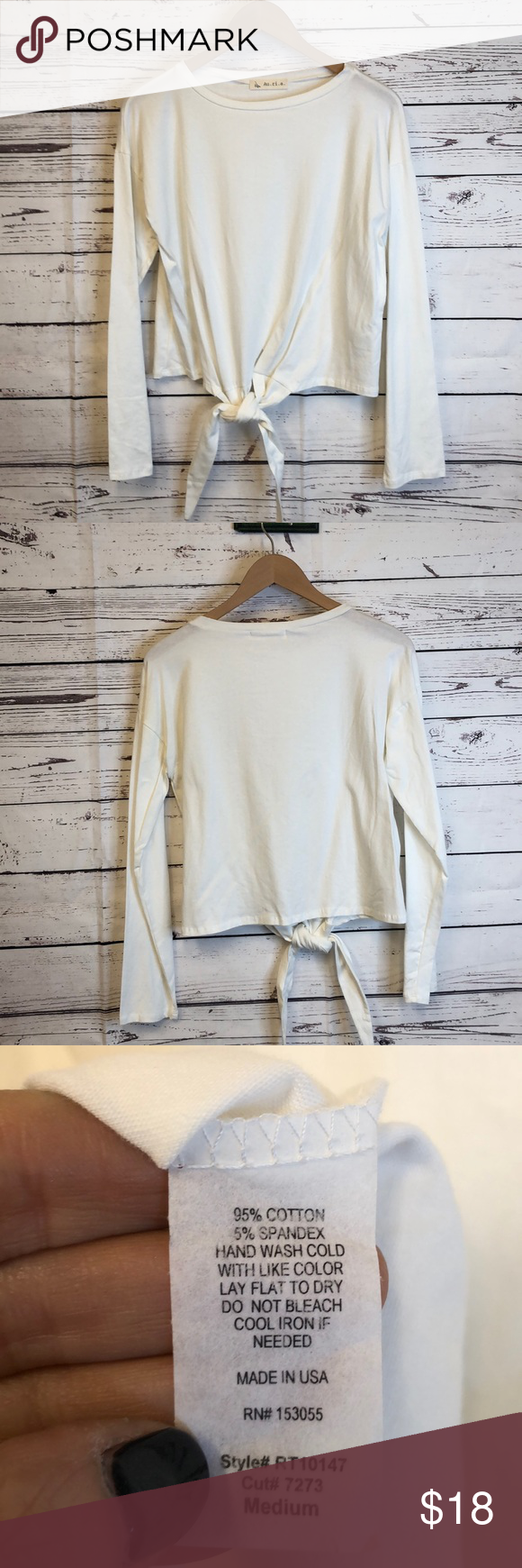 Au.ri.a. Ivory front knot knotted long sleeve tee Long