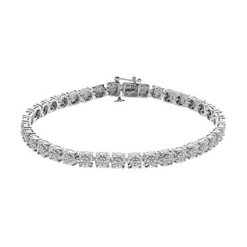 Sterling Silver 1 4 Carat T W Diamond Tennis Bracelet Tennis Bracelet Diamond Diamond Cross Pendants Diamond
