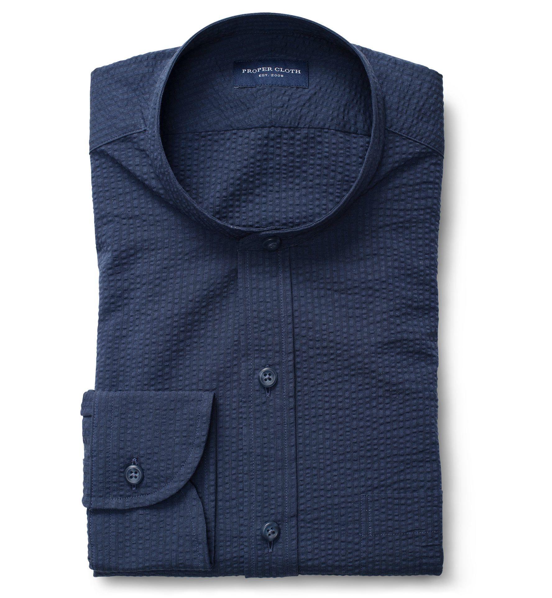 Portuguese Navy Seersucker Shirt casual style, Custom