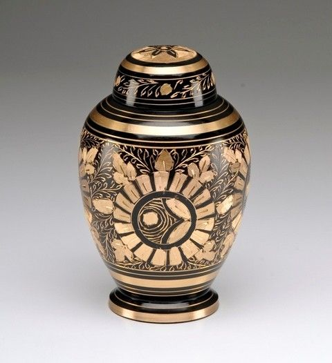 Beautiful Golden Brass And Black Urn With Hand Etched Flowers And Threaded Dome Lid Felt Lined Base Perfect For Smaller Pets 36 Pet Urns Cat Urns Dog Urns