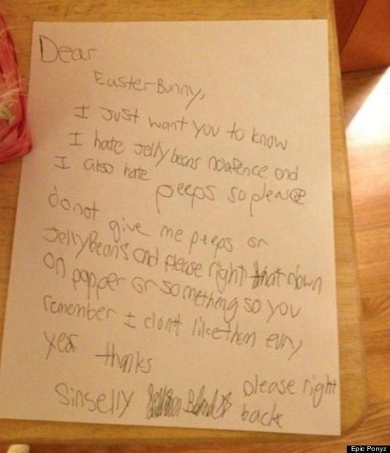 Photo Funny Dear Easter Bunny Letter  Easter Bunny Bunny And