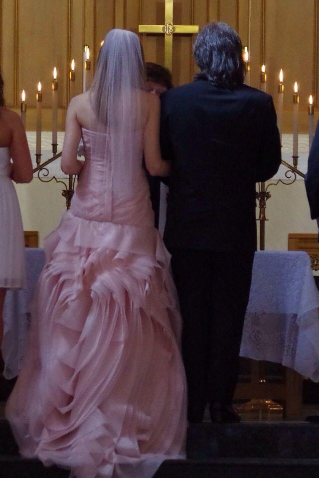 Back Of The Vera Wang Blush Pink Wedding Dress Rose Swirl Simple