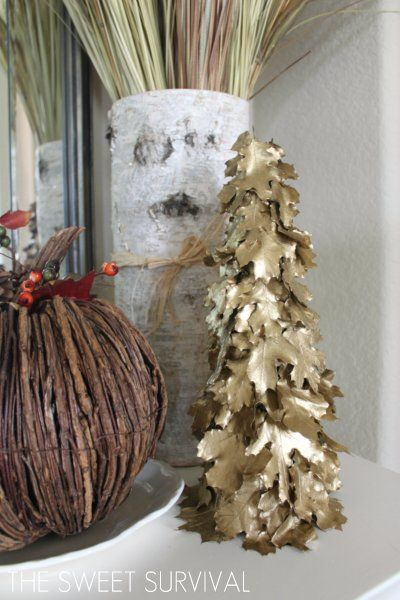 Here is the tutorial for the gilded leaf tree that I promised from last week's rustic fall mantle post. I purchased these preserved oak ...