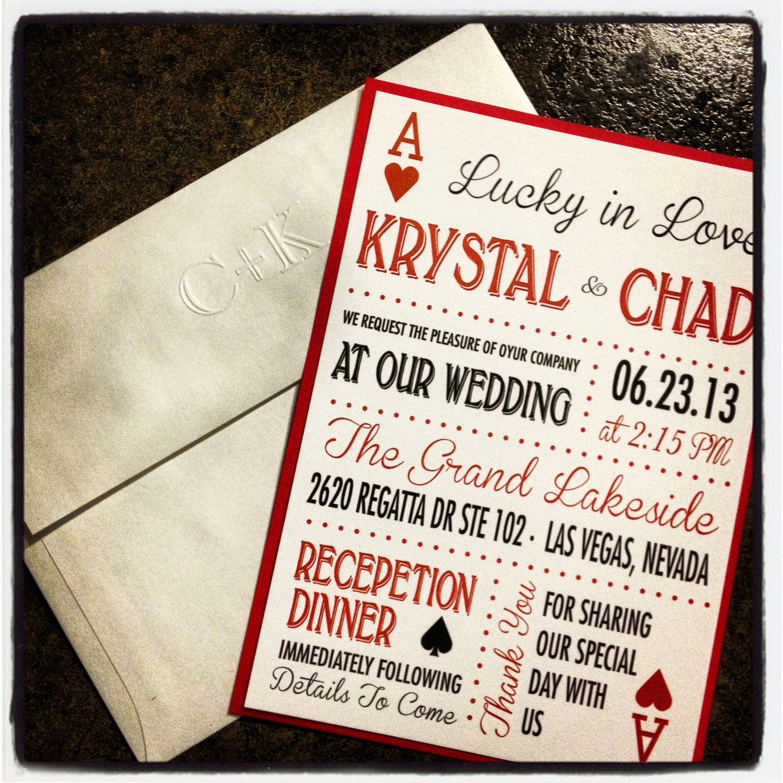 Las Vegas Wedding Invitation Cute Original Theme