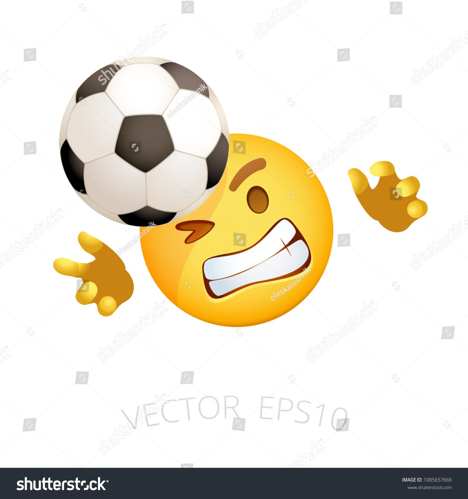 Football Goalie Emoji Vector Smile Goalkeeper Who Tries To Catch The Flying Soccer Ball Yellow Sports Emoticon For Internet Chats Goalkeeper Fly Ball Goalie