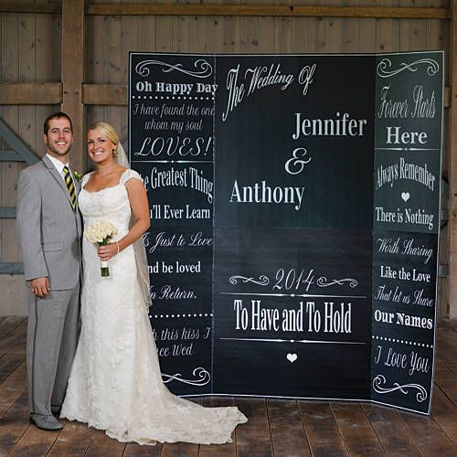 Our Wedding Chalkboard Photo Background features a simple yet elegant design of swirls and your custom imprint on a black background.