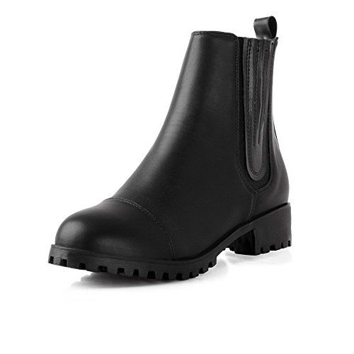 AmoonyFashion Womens Roundtoe Closedtoe Kittenheels Boots with Square Heels and Rubber Bottom Black 40 >>> Find out more about the great product at the image link.