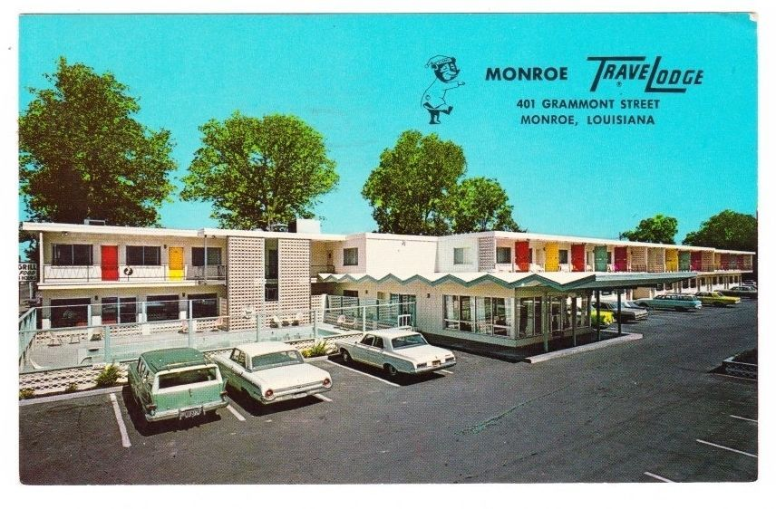 Motel Postcard Travelodge Monroe La Cars